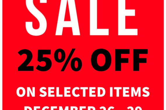 end of the year sale, 25% off, end of the season sale, urban objects